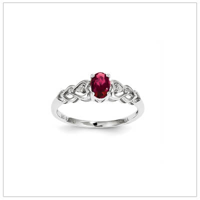 Sterling Diamond and Birthstone Ring July-Gifts for Teenage Gir