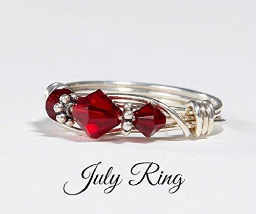 Amazon.com: July Birthstone Ring: Handmade Sterling Silver July .
