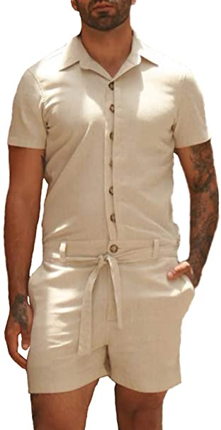 Beotyshow Mens Plain Summer Short Sleeve Male Rompers Lapel Button .
