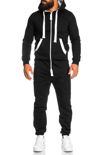 Men's Leisure Long Sleeve Contrast Trim Hooded Zip Front Slim .
