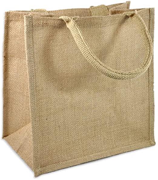Amazon.com: Natural Burlap Tote Bags Reusable Jute Bags with Full .