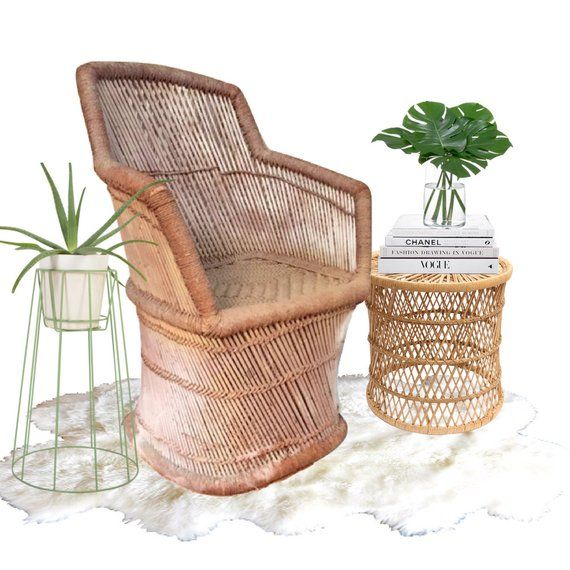 Vintage Bamboo Chair Reed & Jute Woven Chair Boho Desk Chair Patio .