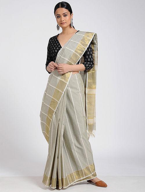 Buy Grey Jute Cotton Saree with Zari Border Online at Jaypore.c