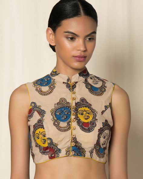 Kalamkari Print Cotton Blouse | Cotton blouse design, Kalamkari .