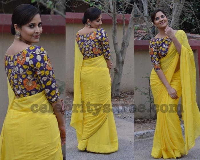 Anasuya in Kalamkari Blouse - Saree Blouse Patter