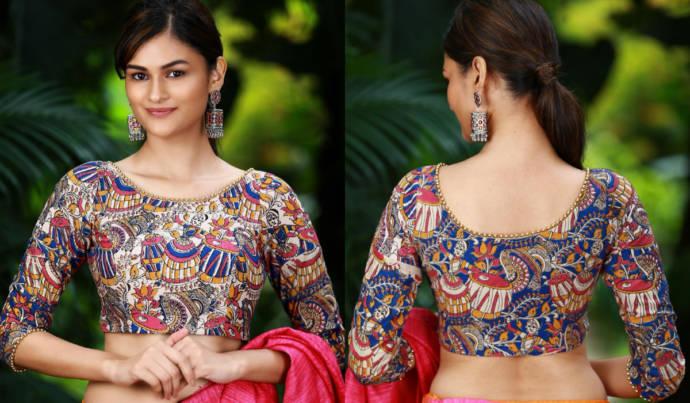 Latest Kalamkari Work Blouse Designs 20