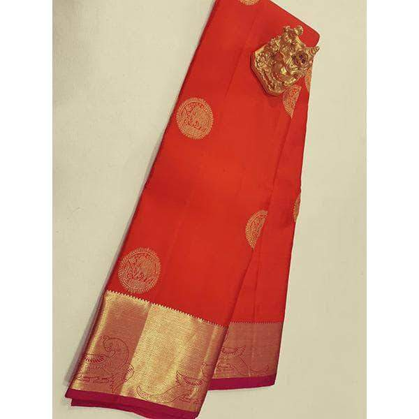 Handloom Kanchipuram Orange Silk Sarees – FashionVib