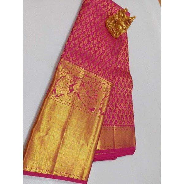 Kanchipuram Silk Golden Pink Wedding / Bridal Sarees – FashionVib