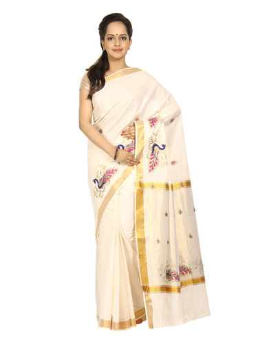 Formal Wear Embroidered Kerala Cotton Saree, Rs 849 /piece .