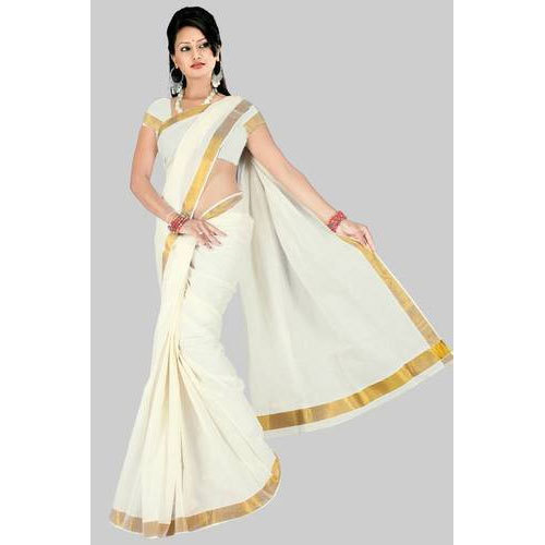 Party Wear White Base Kerala Cotton Saree, With Blouse, Rs 300 .