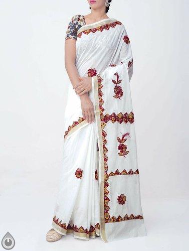 White Pure Kerala Cotton Saree With Kalamkari Applique Work, Rs .