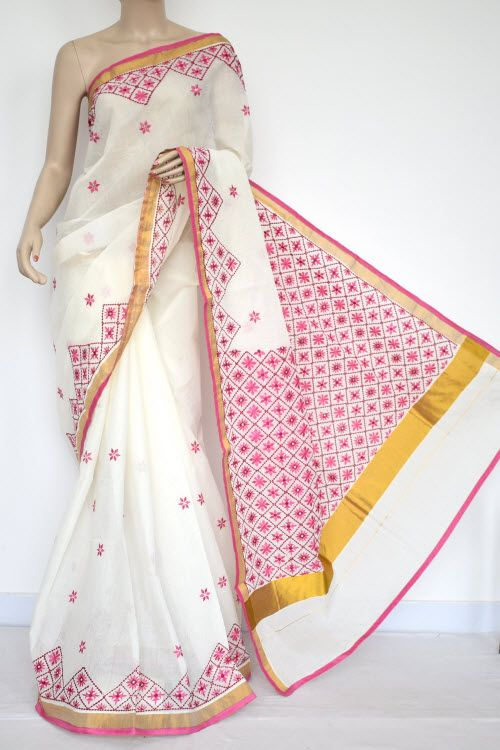 Off-White, Pink Embroidered Kerala Cotton Handloom Saree (With .