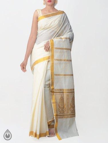 Corporate Wear Off White Pure Kerala Kasavu Cotton Saree, Rs 1169 .