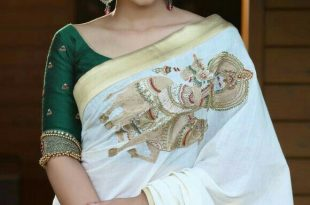 The blouse and the saree is Point on. (With images) | Kerala saree .
