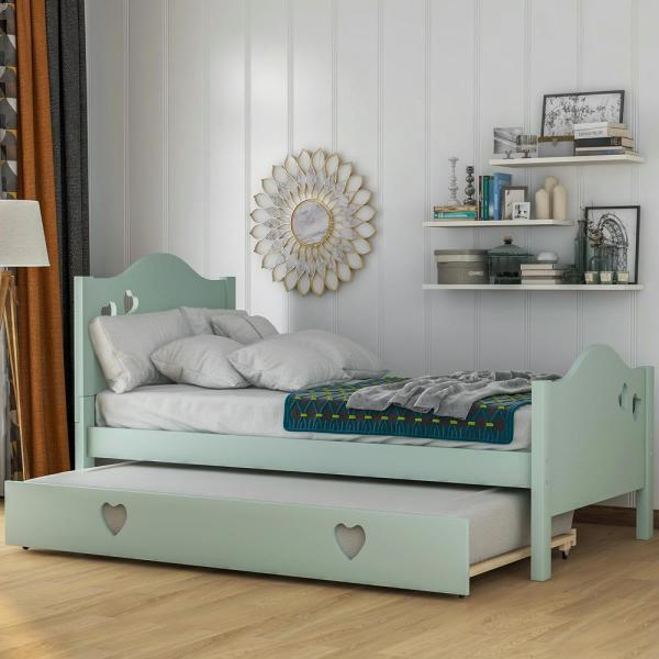 Harper & Bright Designs Loving Green Twin Size Platform Bed with .