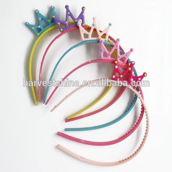 Cute Korean Thin Plastic Headband,Kids Colorful Crown Headband .