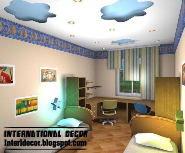 cool and modern false ceiling design for kids room interior .