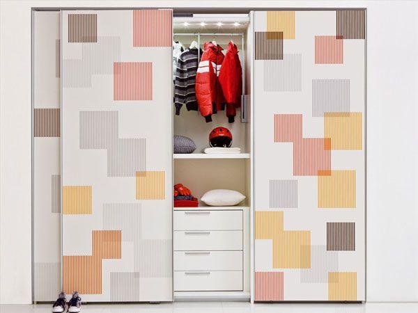 White Patterned Sliding Door Kids Wardrobe Design in White Themed .