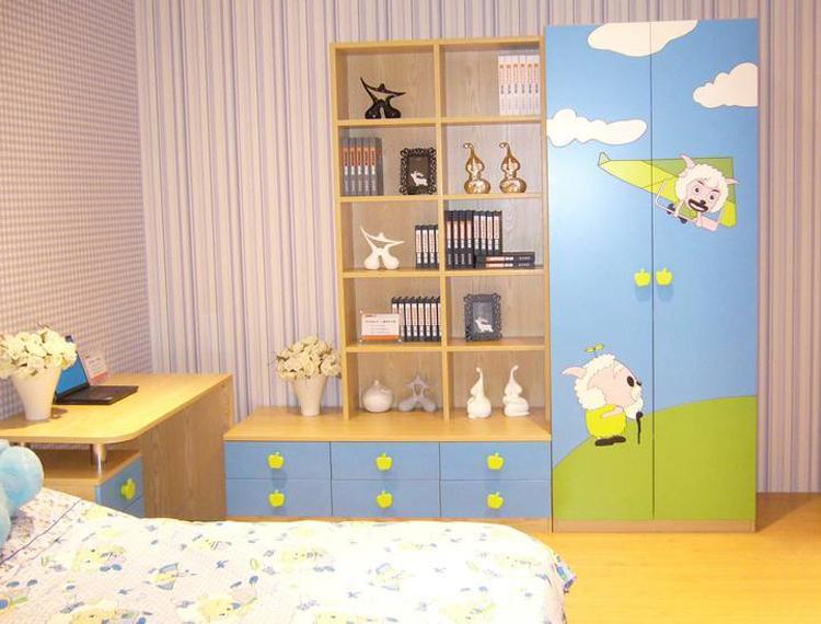 Cartoon Kids Children Mini Wardrobe Design With Book Shelf - Buy .