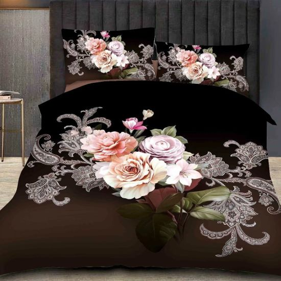 China Flower Printed Bed Sheet Cover, King Size Bedsheet 3D .