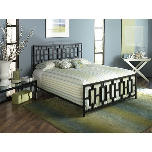 King Metal Bed Frame with Modern Square Tubing Headboard .