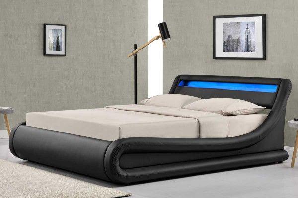 Madrid Black LED Lights Lift Up Ottoman Storage Designer Bed .