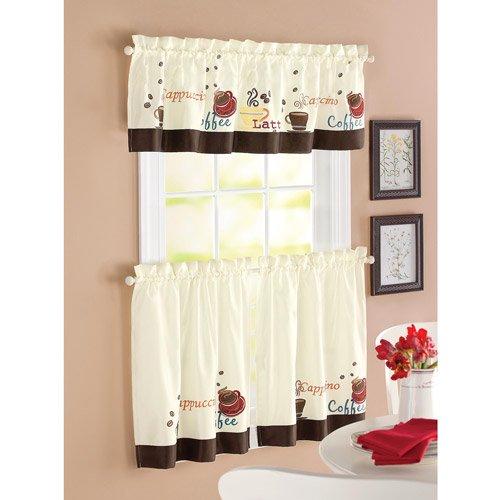 Better Homes & Gardens Coffee Window Kitchen Curtains, Set of 2 .