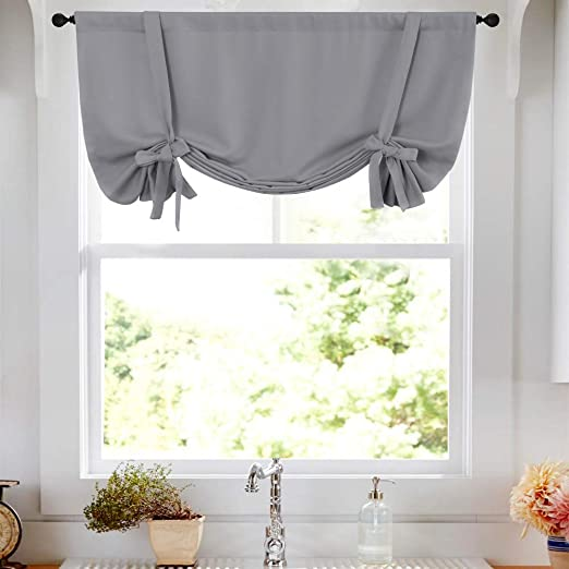Amazon.com: Tie Up Tier Curtain Grey Kitchen Curtains Room .