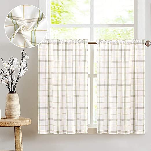 Amazon.com: Classic Plaid Kitchen Curtains Checkered Design Linen .