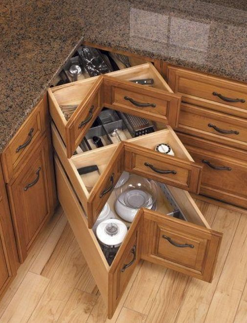 How to DIY Corner Kitchen Drawers (With images) | Corner drawers .