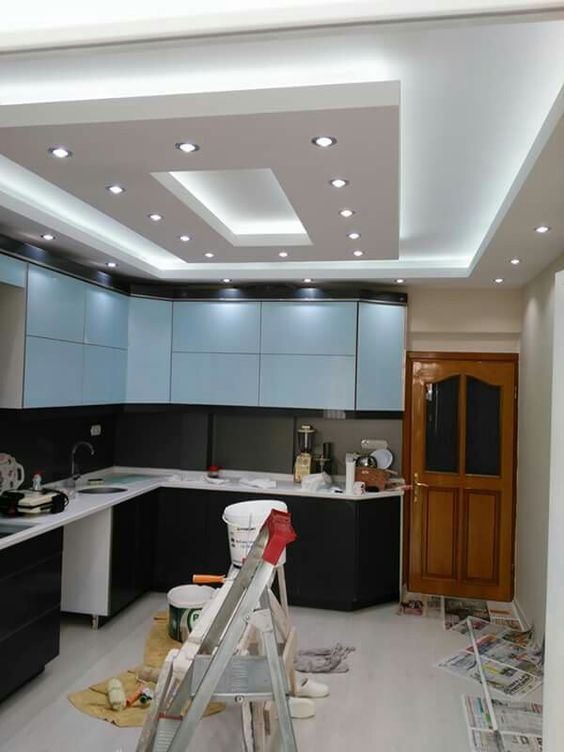 How to make a false ceiling design with lighting for kitchen 2018 .