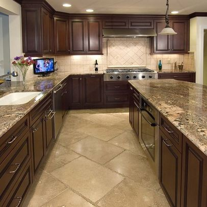 Tan Kitchen Floor Tile | Dark Cabinets With Tile Floor Design .