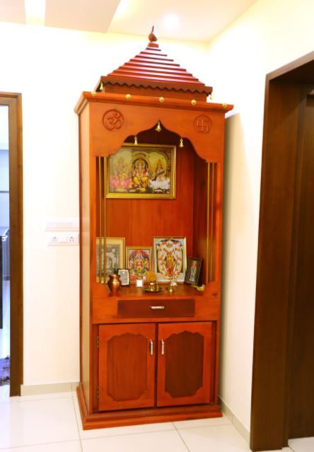 Small Pooja Cabinet Designs and Ideas - Home Makeover | Pooja room .