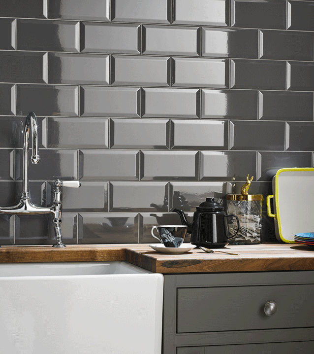 Grey brick effect kitchen wall tile … (With images) | Grey kitchen .