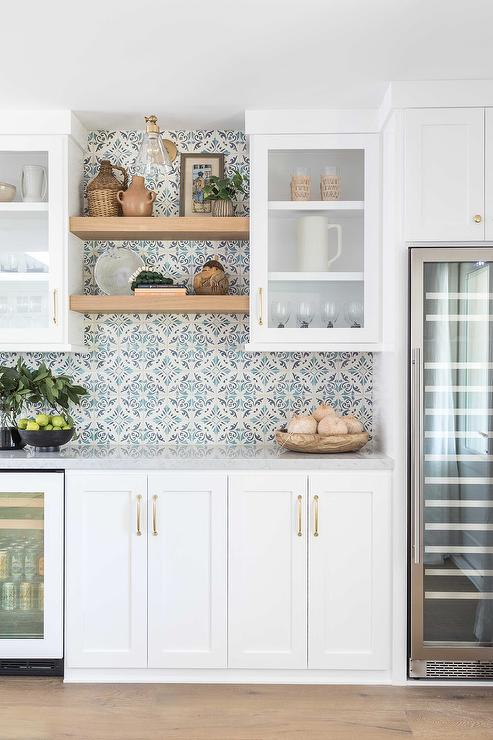 Ivory and Blue Mosaic Tiles on Kitchen Wall - Transitional - Kitch