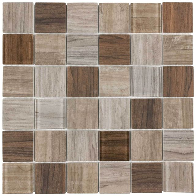 Modern Uniform Squares Brown Glass Mosaic Tile Backsplash Kitchen .