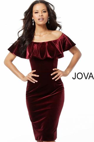Jovani Burgundy Off the Shoulder Fitted Knee Length Dress 58081 .