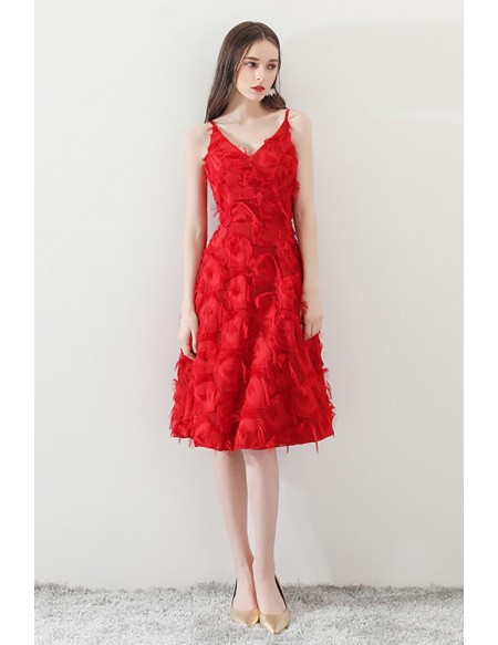 Unique Feathers Red Knee Length Party Dress Vneck with Straps .