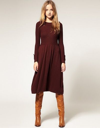 knee length dresses with tall boots (With images) | Outfit .