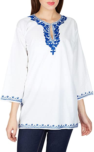 Amazon.com: Embroidered White Shirt Kurti Tunic - Authentic Indian .
