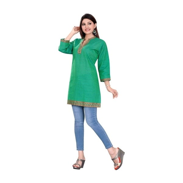Shop Sea Green 3/4 sleeve Indian Cotton Kurti/Tunic with Golden .