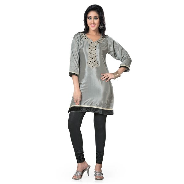 Shop Grey 3/4 Sleeves designer Kurti / Tunic (India) with beaded .