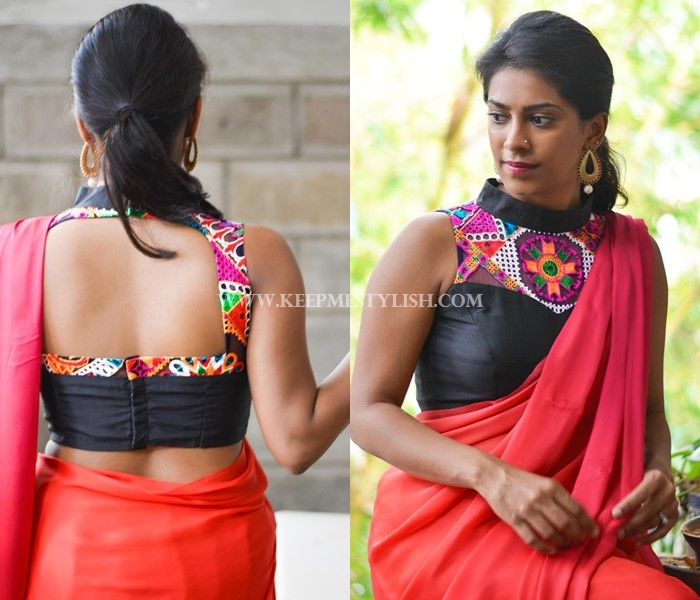 plain-saree-with-kutch-work-blouse • Keep Me Styli
