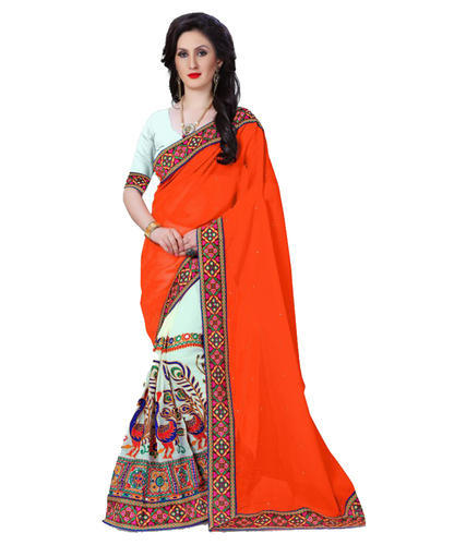 Party Wear Orange & White Designer Multicolored Kutch Embroidered .