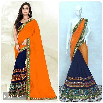 Blue & Orange Georgette Kutch Work Saree With Blouse Piece (With .