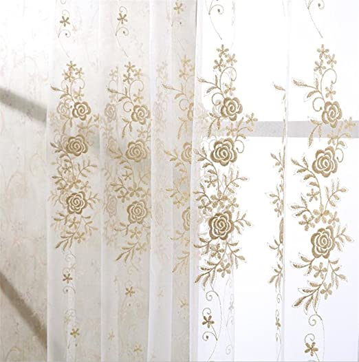 Amazon.com: eTRY Embroidered Gold Rose Floral Lace Curtains Sheer .