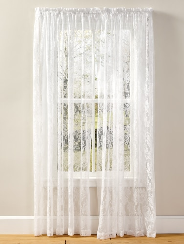 Elegant Lace Curtain Panel with Floral Desi