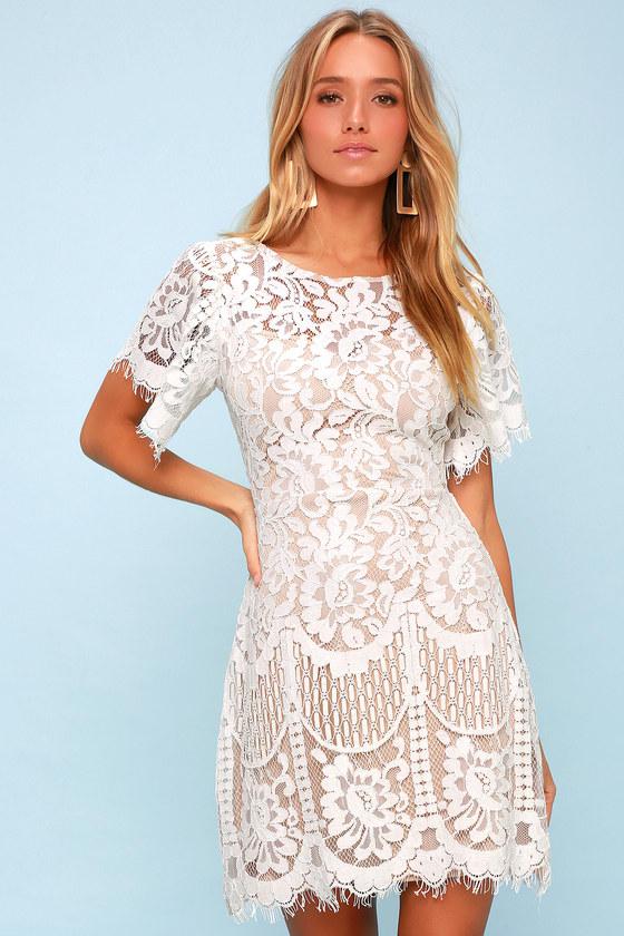 Lovely White Dress - Lace Dress - Short Sleeve Dress - Shea