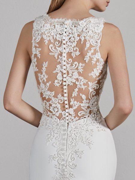 Bateau Neck Sleeveless Illusion Lace Back Mermaid Wedding Dress .