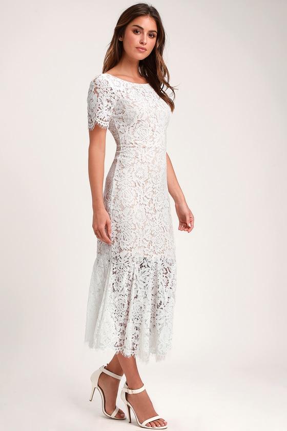 Stunning White Dress - White Lace Dress - Lace Midi Dre